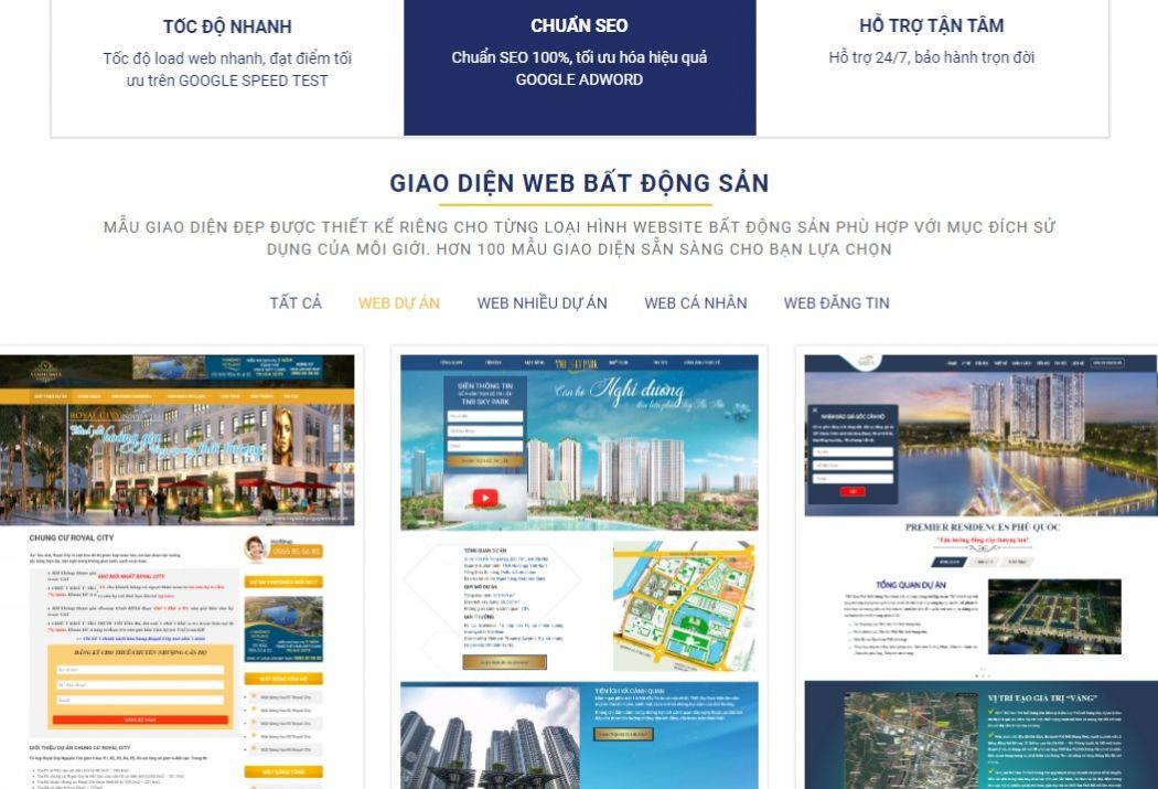 Làm web bất động sản, web nhà đất, thiết kế website uy tín
