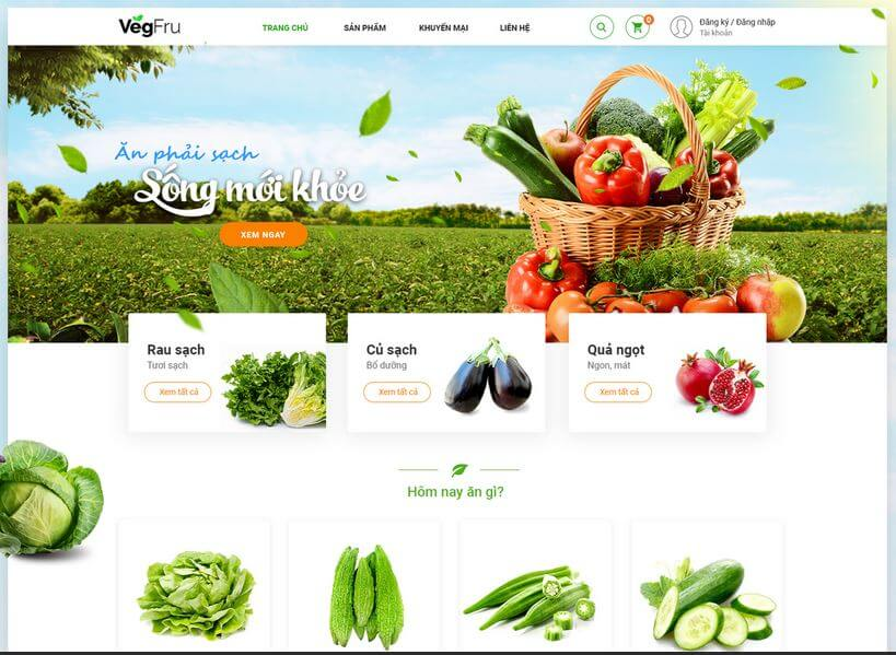 Thiết kế website thực phẩm rau sạch tại Đà Nẵng